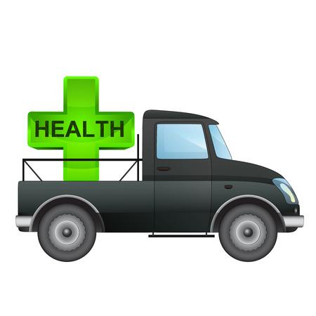 pick up: isol� ramasser voiture des soins de sant� de dessin vectoriel illustration de livraison