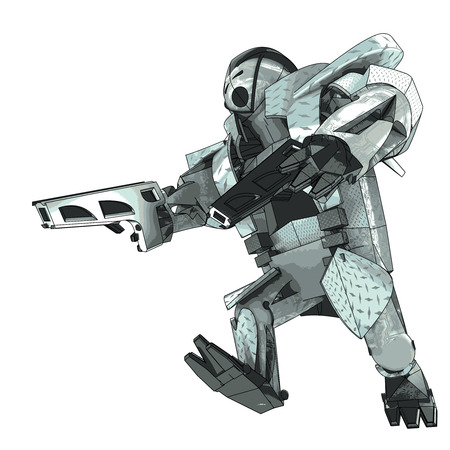 wrath: isolated running armored robot campaigner vector 3D model my own drawing illustration Illustration