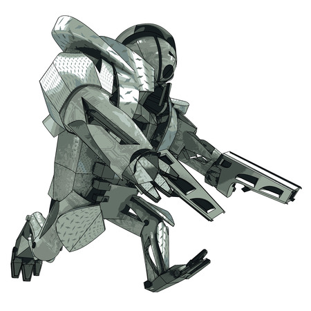 robot with shield: isolated running armored robot warrior vector 3D model my own drawing illustration