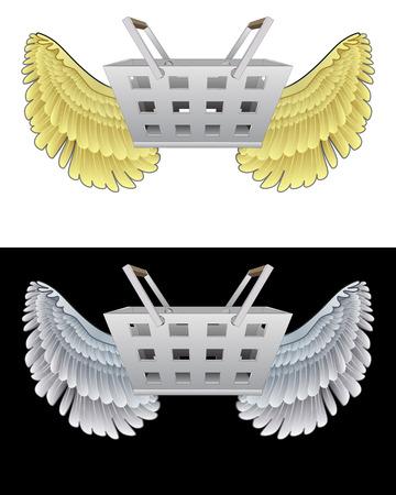 angelic: angelical icono de la cesta de compras volando en conjunto de ilustraci�n vectorial blanco y negro