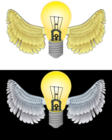 flying angelic bulb icon in black and white set vector illustration Vector