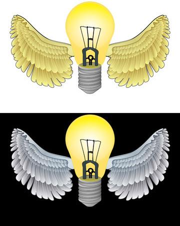 angelic: icono de bombilla angelical volando en conjunto de ilustraci�n vectorial blanco y negro