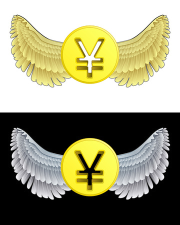flying angelic Yuan coin icon in black and white set vector illustration Vector