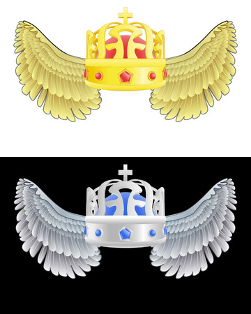 prince of peace: flying angelic crown icon in black and white set vector illustration Illustration