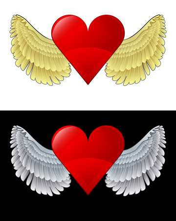 flying angelic heart icon in black and white set vector illustration Vector