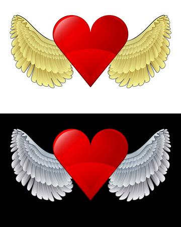 angelic: icono del coraz�n angelical volando en conjunto de ilustraci�n vectorial blanco y negro