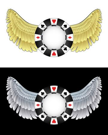 angelic: angelical icono de chip de p�quer volando en conjunto de ilustraci�n vectorial blanco y negro