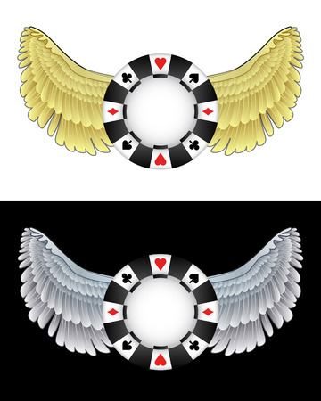 flying angelic poker chip icon in black and white set vector illustration Vector