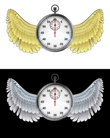 flying angelic stopwatch icon in black and white set vector illustration Vector