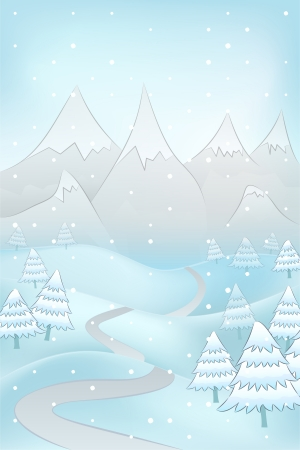 high road: high winter landscape with road to mountains and spruce trees around vector illustration