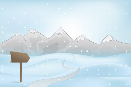 winter mountain outdoors with path and pointer at snowfall vector illustration Vector