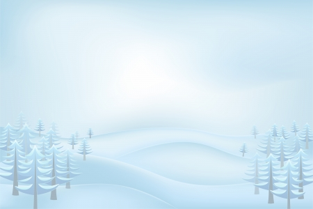 conifer: calm winter outdoors with snowy hills and conifer trees vector illustration Illustration