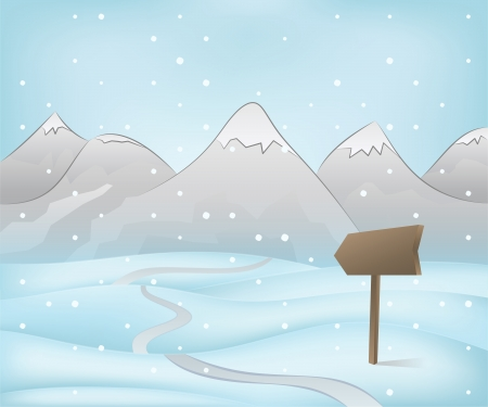 winter mountain landscape scene with road pointer at snowfall vector illustration Vector