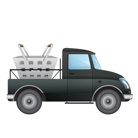 isolated pick up car as supermarket goods deliver vector drawing illustration Vector