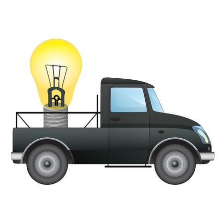 pick up: isol� ramasser voiture transporteur de vos id�es d'affaires de dessin vectoriel illustration Illustration