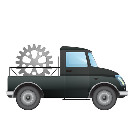 isolated pick up car as transporter for machinery industry vector drawing illustration Vector