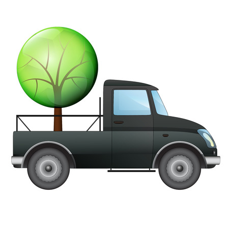 isolated pick up car with tree delivery vector drawing illustration Vector