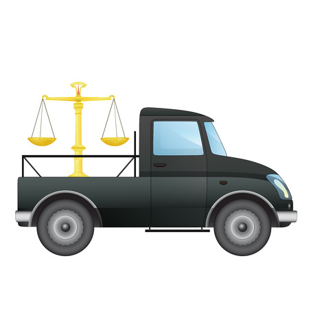 isolated pick up car with justice trade weight vector drawing illustration Illustration