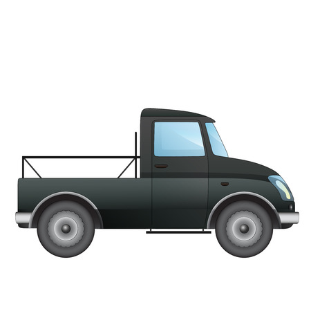 isolated empty pick up car vector drawing on white illustration Vector