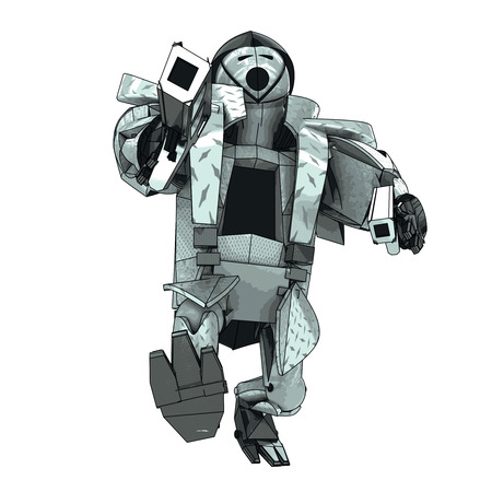 futuristic pistol: isolated armored robot warrior vector 3D model my own drawing illustration
