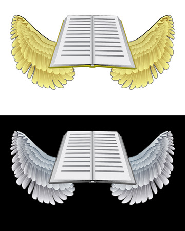 flying angelic book icon in black and white set vector illustration Stock Vector - 23934065