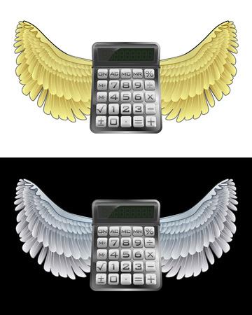 angelic: angelical icono de la calculadora de negocios volando en conjunto de ilustraci�n vectorial blanco y negro