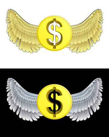 flying angelic Dollar coin icon in black and white set vector illustration Vector