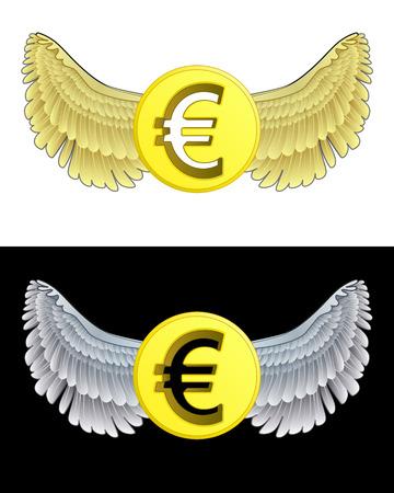 angelic: angelical icono de la moneda Euro volando en conjunto de ilustraci�n vectorial blanco y negro