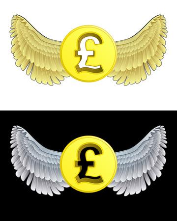 angelic: angelical icono de la moneda Libra volando en conjunto de ilustraci�n vectorial blanco y negro Vectores