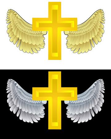 angelic: angelical icono de la cruz santa volando en conjunto de ilustraci�n vectorial blanco y negro Vectores