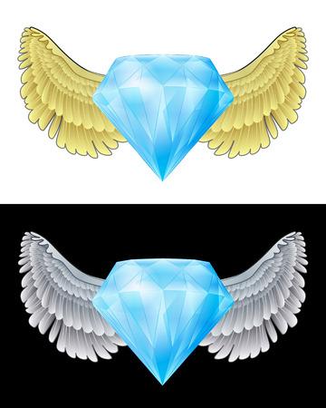 angelic: icono de diamante angelical volando en conjunto de ilustraci�n vectorial blanco y negro