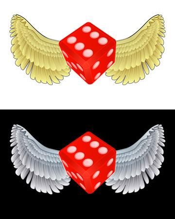 angelic: icono dados angelical volando en conjunto de ilustraci�n vectorial blanco y negro