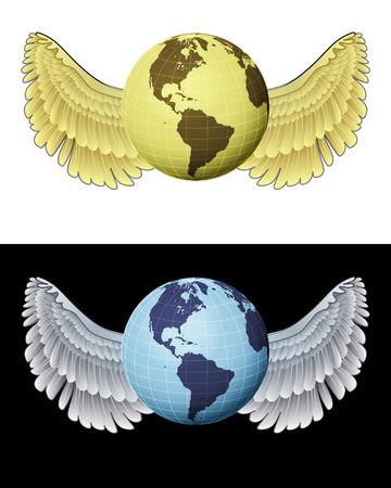 angelic: angelical icono del globo am�rica volando en conjunto de ilustraci�n vectorial blanco y negro
