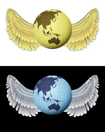angelic: ang�lica asia icono del globo volando en conjunto de ilustraci�n vectorial blanco y negro