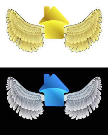 flying angelic house icon in black and white set vector illustration Vector