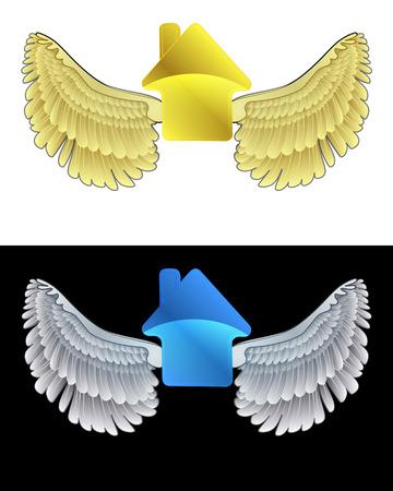 angelic: icono de la casa angelical volando en conjunto de ilustraci�n vectorial blanco y negro