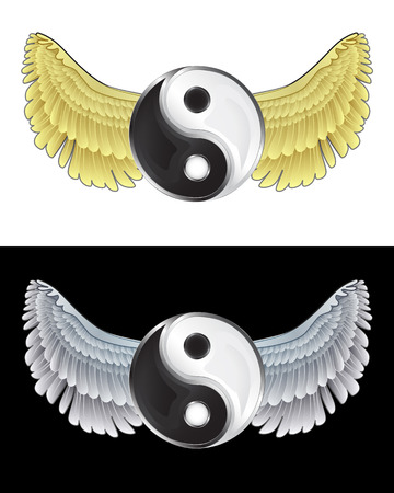 asian angel: flying angelic yin and yang icon in black and white set vector illustration