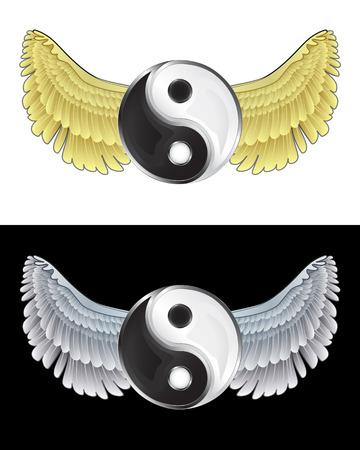 angelic: volar el yin y el yang angelical icono en conjunto de ilustraci�n vectorial blanco y negro
