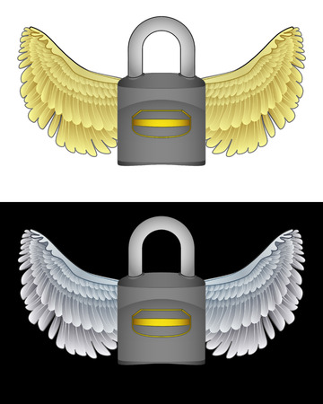 angelic: icono de candado angelical volando en conjunto de ilustraci�n vectorial blanco y negro Vectores