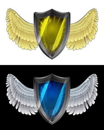 angelic: icono de escudo angelical volando en conjunto de ilustraci�n vectorial blanco y negro