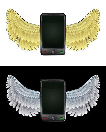 angelic: angelical icono de tel�fono inteligente que vuelan en conjunto de ilustraci�n vectorial blanco y negro