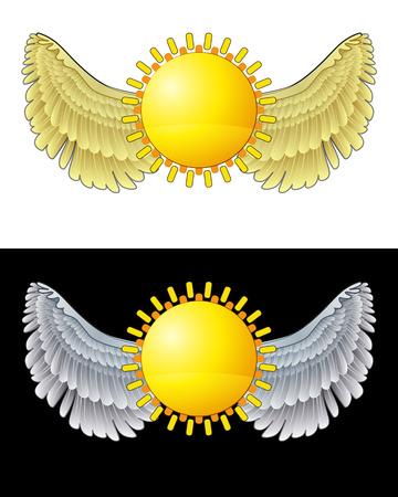 angelic: icono del sol angelical volando en conjunto de ilustraci�n vectorial blanco y negro