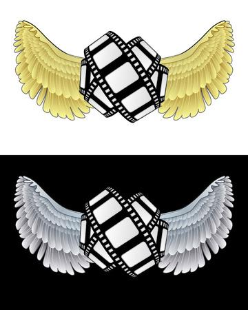 angelic: icono de la pel�cula angelical volando en conjunto de ilustraci�n vectorial blanco y negro