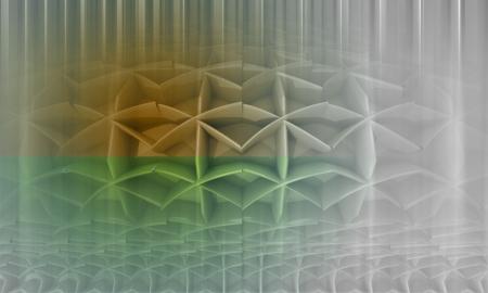 three dimensional background: divided green orange vertical blurred shape three dimensional background illustration
