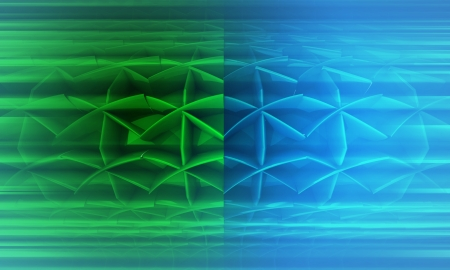 three dimensional background: divided green blue blurred futuristic shape three dimensional background illustration Stock Photo