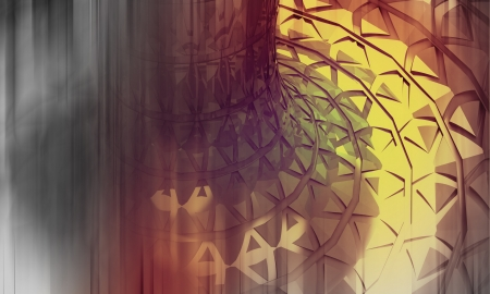 three dimensional background: red yellow blurred futuristic circular shape three dimensional background illustration