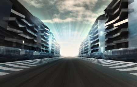 formula one: racetrack in business city in motion blur with flare wallpaper illustration Stock Photo