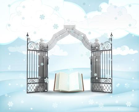 겨울 눈이 그림에서 하늘의 책 크리스마스 문 입구