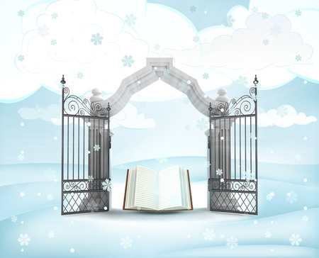 xmas gate entrance with heavenly book in winter snowfall illustration illustration