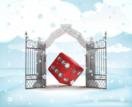 rolling landscape: xmas gate entrance with dice happiness in winter snowfall illustration